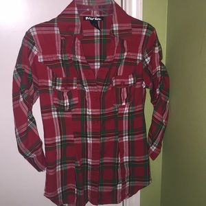 Women's Small Red and Green Plaid blouse